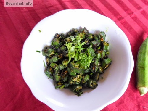 Simple fried lady finger prepaared in traditional Marathi cooking style