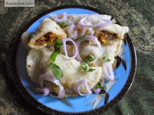 A speciality Maharashtrian dish for Stuffed Prawns Karanji