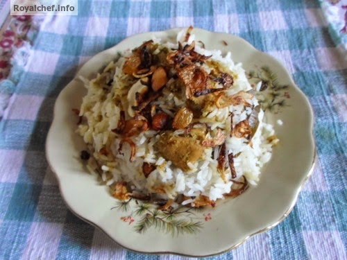 Chicken Biryani preperaed in the Maharashtrian style of cooking.