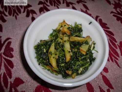 A Maharashtrian vegetable dish of Methi Bhaji with Potato French Fries