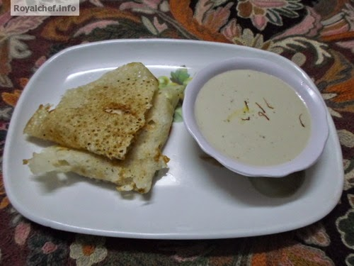 The popular Konkani serrt dish of Ras-Ghavan (रसातले घावन)