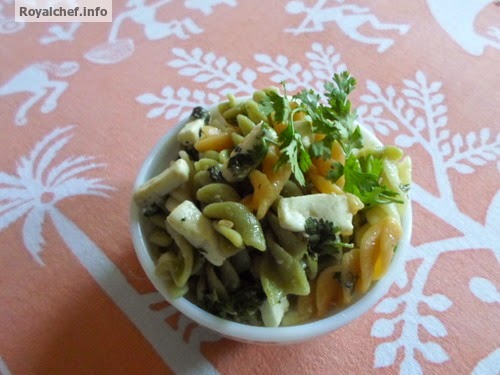 A Paneer, Pasta and Fusilli dish for children