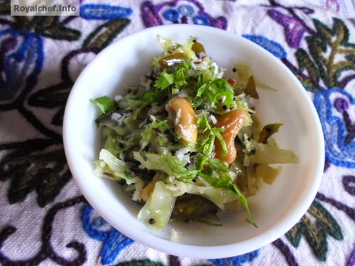 A Cabbage dish prepared in the traditional Maharashtrian Style of cooking