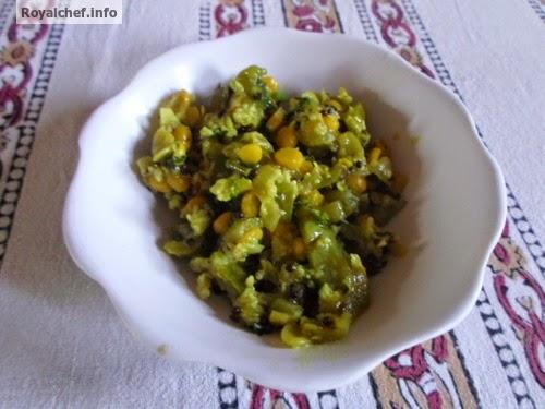 A typical Maharashtrian Style Dodkyachi Bhaji vegetable dish