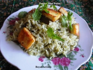 Tasty Paneer Pudina Pulao