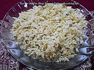 Rice for the Pav Bhaji Biryani