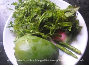 Maharashtrian Style Raw Mango-Mint leaves Chutney
