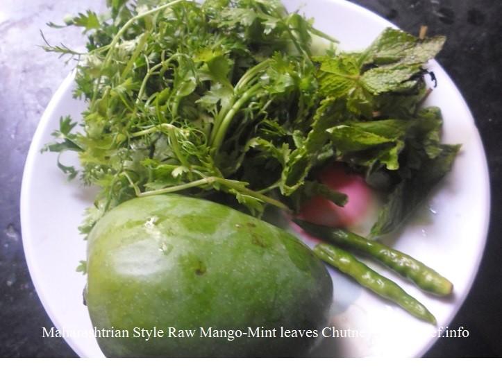 Maharashtrian Style Raw Mango-Mint leaves Chutney