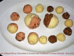 Maharashtrian Chocolate Coconut and Gulkand Coconut Modak
