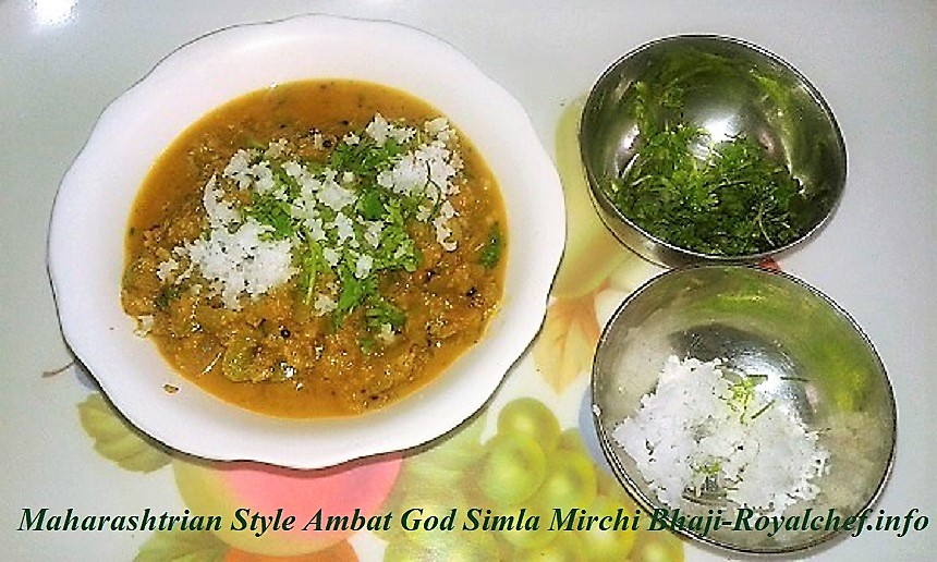 Maharashtrian Style Ambat God Simla Mirchi Bhaji