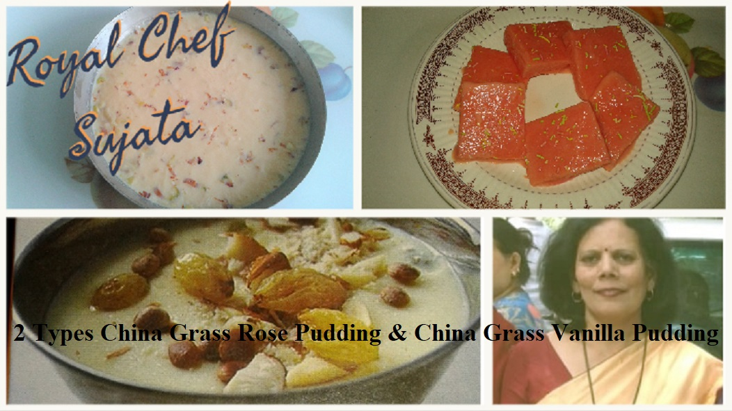 Summer Special 2 Types China Grass Rose Pudding & China Grass Vanilla Pudding