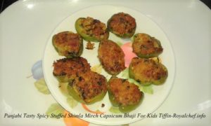 Punjabi Tasty Spicy Stuffed Shimla Mirch Bhaji For Kids Tiffin