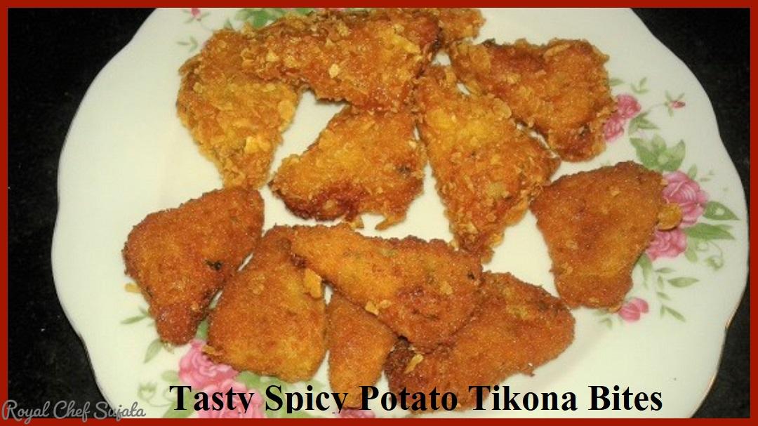 Tasty Crispy Potato Tikona Bites for Starter