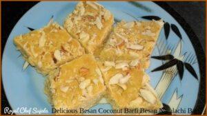 Delicious Besan Coconut Barfi Besan Naralachi Barfi