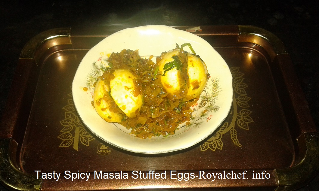 Tasty Spicy Masala Stuffed Eggs Recipe In Marathi
