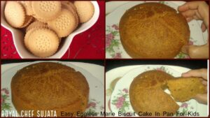 Easy Eggless Marie Biscuit Cake In Pan For Kids
